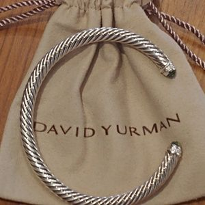 David Yurman diamond + Peridot 5mm cable bracelet